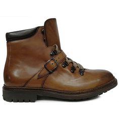 8383 zapato botín liso de cordones con hebilla lateral en color cuero difuminado de Cordwainer   Calzados Garrido