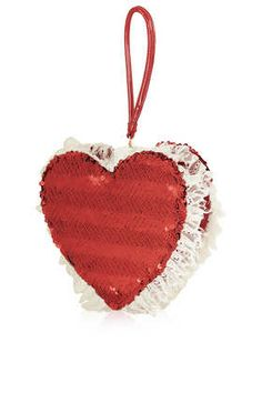 **Red Sequin Heart Bag by Meadham Kirchhoff