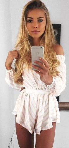 #summer #musthave #outfits | Peach Stripe Playsuit