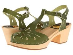 These shoes are EVERYTHING in green!!  Swedish Hasbeens Lacy Sandal Green - Zappos.com