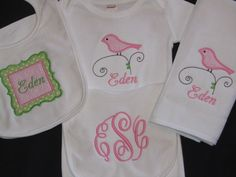 Personalized Baby Girl gift set  Bird Monogram by PerryWinklesEmb, $44.00