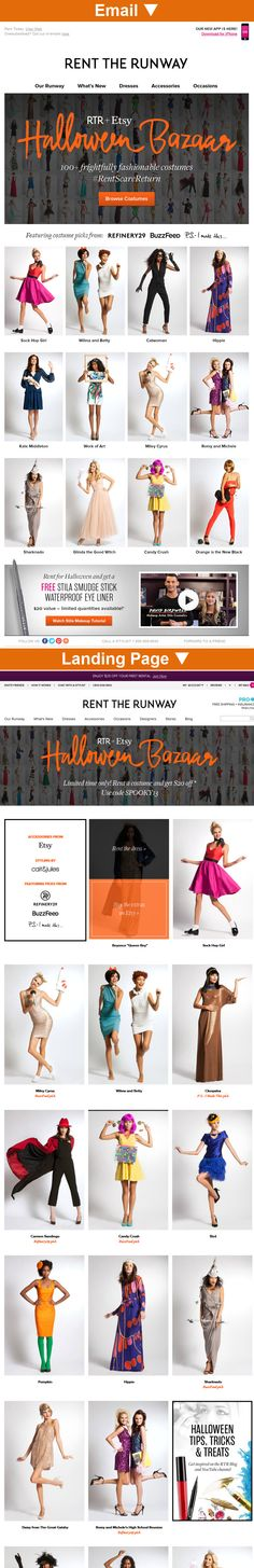 Rent the Runway >> sent 10/11/13 >> Be Frightfully Fashionable! >> This apparel rental service creates some creative, upscale Halloween costumes by partnering with Etsy artists to supply the perfect accessories. Some of the suggestions are very timely, like the Sharknado, Candy Crush, and Orange Is the New Black costumes. —Amanda Monroe, Design Consultant, Salesforce ExactTarget Marketing Cloud