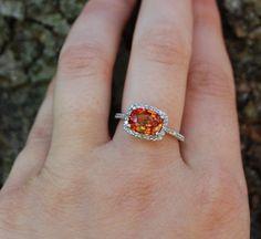 2ct Firely orange sapphire diamond ring 14k white by EidelPrecious