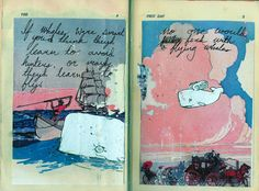 FLYING WHALE- whiteout and ink on vintage book page