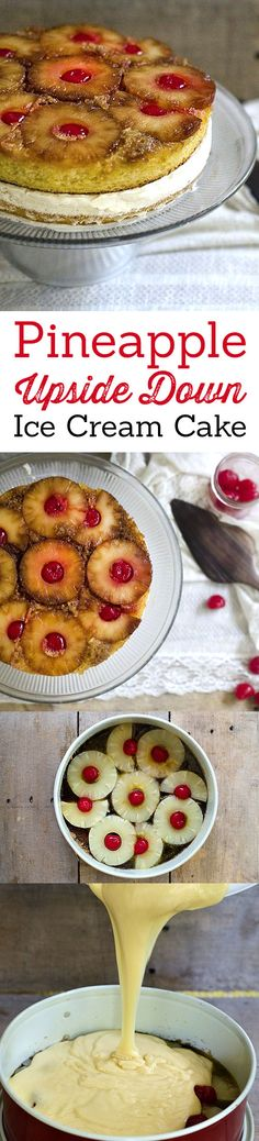 Pineapple Upside Down Ice Cream Cake Recipe. A fun twist on a classic old fashion recipe. LivingLocurto.com