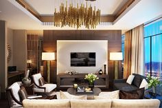 Photorealistic Rendering for an Amazing Hotel Suite Presentation 3d Rendering Services, Photorealistic Rendering, Gold Curtains, Presentation Design, Project Presentation, 3d Visualization, Modern Interior Design, Modern Interiors, Hotel Suites