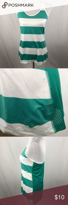 """Nike green and white stripe mesh medium tank Crazy super soft material on front. Pre-owned condition. Chest 16.5"""" length: 27.5"""" approximate measurements.  Smoke free/pet friendly home.  Make sure to check out my other listings, thanks for looking! Nike Tops Tank Tops"""