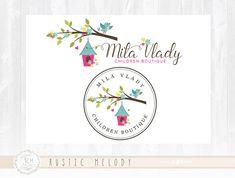Children Logo Design Bird House Logo Kids Logo Baby Logo Boutique Logo  Stamp Logo Watermark Photography Logo