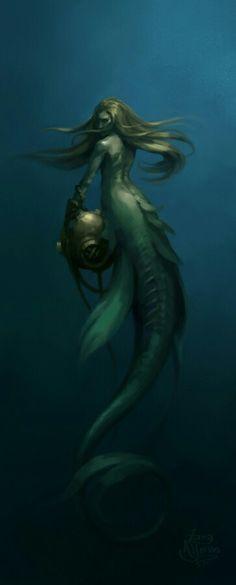 Evil Mermaids, Fantasy Mermaids, Mermaids And Mermen, Dark Mermaid, Siren Mermaid, Mermaid Artwork, Mermaid Drawings, Mermaid Paintings, Magical Creatures