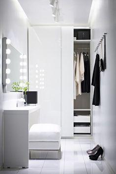 design idea for a walk-in closet with a mirror, white, simple