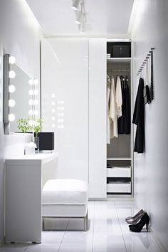 design idea for a walk-in closet with a mirror, white, simple