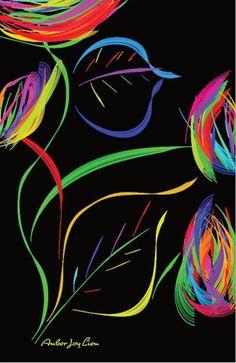 Flowers with Stems Black Light Poster by AmberJoyLiemArtShop
