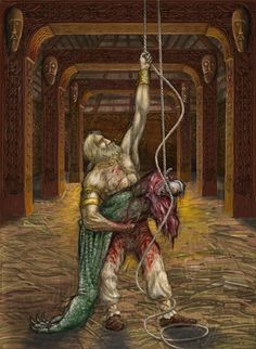 After Beowulf defeated Grendel by ripping off his arm, the arm was hung from the rafters as a trophy and proof of Beowulf's victory. This occurance was the reason for the second battle, where Beowulf fought against Grendel's mother.
