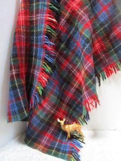 "Royal Stewart Tartan Knee Rug Tweeds of Scotland Wool approx size 33/"" x 62/"""