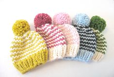 Baby Knit Hat / Child Chunky Striped Beanie / Knit Baby Hat