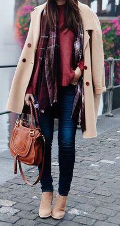 #winter #fashion / burgundy + beige coat