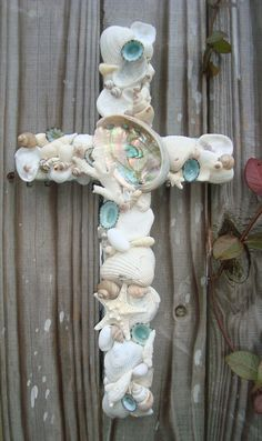 Turquoise Seashell Cross by MyHoneypickles on Etsy, $45.00