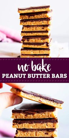 No Bake Chocolate Peanut Butter Bars are a yummy dessert to make all year round. They are easy to make and taste delicious! | #peanutbutter #chocolate #nobakedesserts #holidayrecipes #dessertrecipes #easyrecipes #nobake