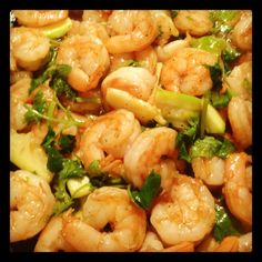 Shrimp, zucchini, and cilantro stirfry!