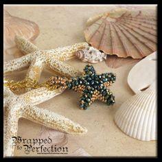 Teal Crystal Starfish Pendant / Starfish Necklace / Beadweaving / Sea Star / Beaded Bead / Beach Wedding / Beaded Bail