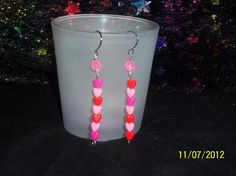 Pink and Purple Hearts Earrings with Glow in the Dark Jewel