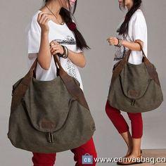 Large Capacity Shoulder Bag Leather Canvas Bag