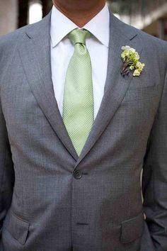 Green tie & grey suit