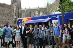 MEM and MEng students line up for lunch courtesy of Durhams Baguettaboutit food truck.