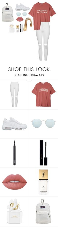"""""""Untitled #2597"""" by kimalooy ❤ liked on Polyvore featuring Topshop, StyleNanda, NIKE, Ray-Ban, NARS Cosmetics, Gucci, Lime Crime, Yves Saint Laurent, Marc Jacobs and JanSport"""