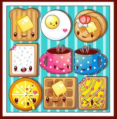 So many little foods with the cutest of faces. ©2008 M. Winkler kawaii vector illustration: