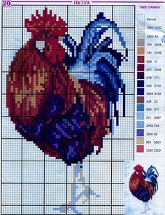 Thrilling Designing Your Own Cross Stitch Embroidery Patterns Ideas. Exhilarating Designing Your Own Cross Stitch Embroidery Patterns Ideas. Rooster Cross Stitch, Chicken Cross Stitch, Cross Stitch Kitchen, Cross Stitch Animals, Counted Cross Stitch Patterns, Cross Stitch Charts, Cross Stitch Designs, Cross Stitch Embroidery, Embroidery Patterns