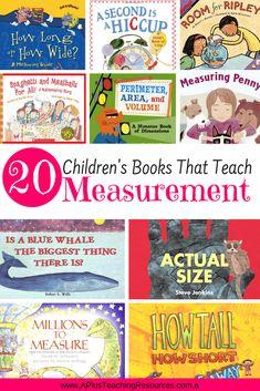 Teaching measurement is so more fun when you use children's books. Measurement Kindergarten, Measurement Activities, Math Measurement, Kindergarten Math, Teaching Math, Math Activities, Teaching Resources, Teaching Ideas, Math For Kids