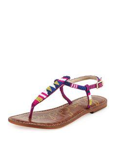 SAM EDELMAN Sam Edelman Gail Beaded Flat T-Strap Sandal, Blue/Purple. #samedelman #shoes #flats