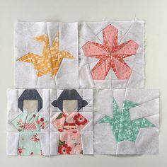 Tsuru - A Paper Crane Quilt Block Pattern Release Japanese Quilt Patterns, Japanese Quilts, Paper Piecing Patterns, Quilt Block Patterns, Pattern Blocks, Quilt Blocks, Japanese Crane, Japanese Fabric, Asian Quilts