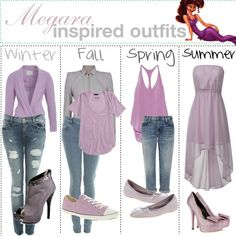 Winter, Fall, Spring, and Summer outfits inspired by Megara