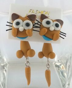 LOVELY Cat Clay Polymer STUD Earrings Handmade Unique  Fashion Gift Wholesale by CandleBakeryCandles on Etsy