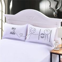 Her And His Side Pillow Case Christmas Romantic Anniversary Wedding Valentine's Gift for Him Or Her Super Soft Pillow Cover Online with $19.9/Pair on Beddingoutlet's Store | DHgate.com