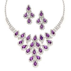 Mariell Bridesmaid Jewelry with Purple Crystal Pears - beautiful!