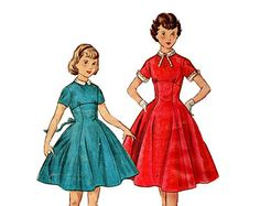 Vintage 1950s Simplicity Sewing Pattern Girls Rockabilly Swing Tea Dress Full Circle Skirt Empire Waist Collar Cuffs Size 10