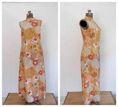 1970s Mod Floral Maxi Dress/Vintage Asian by rileybella123 on Etsy, $65.00
