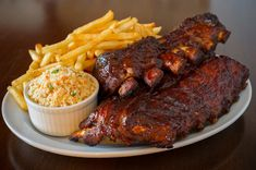 Pork ribs back meal. Pork ribs back with french fries and coleslaw salad on the , Cajun Recipes, Rib Recipes, Slow Cooker Recipes, Dinner Recipes, Cooking Recipes, Online Recipes, Cajun Food, Cooking Games, Lunch Recipes