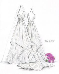 The date is set, you have the perfect gown... Now preserve the beauty with a hand drawn illustration or give the gift of custom art to someone special. WHAT I NEED FROM YOU: Please email the following to mhveils@yahoo.com - Photos of your wedding gown - Photos of the bouquet, veil,