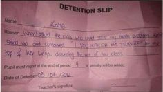 The teacher who assigned this detention: