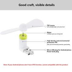 [$1.56] HAWEEL 3.5 inch Fashion Two Ports Portable USB / Micro USB Phone Mini Fan with Two Leaves for Samsung Galaxy S6 / S5, Other Mobile Phone with OTG Function(White)