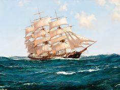 Скачать обои  парусники, рассекая волны, Montague Dawson 1600x1200