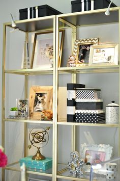 Plain VITTSJO shelves from IKEA get a glam revamp into gold etageres fit for a luxe and chic home office space. More details at monicawantsit.com