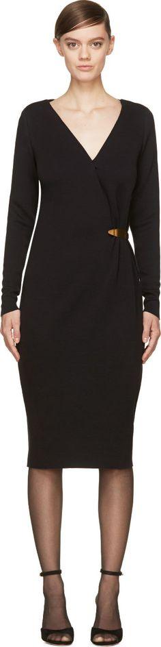 Lanvin Black Jersey Gold Brooch V-Neck Dress