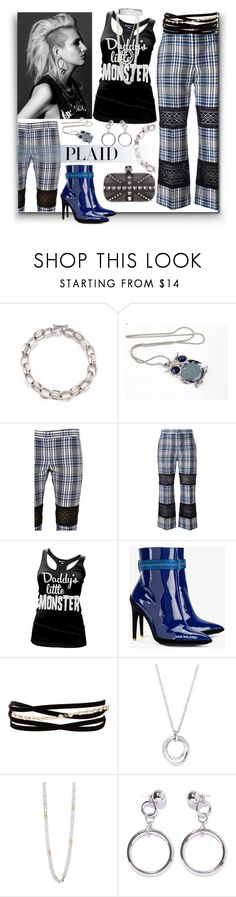 """Punk the Plaid"" by sylandrya ❤ liked on Polyvore featuring Saks Fifth Avenue, Alexander McQueen, Cartel Ink, Off-White, Kenneth Jay Lane, Eddie Borgo, FOSSIL, Gurhan, Ana Accessories and plaid"