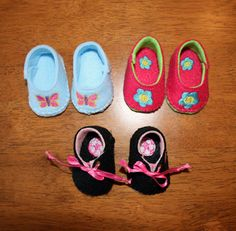 In The Hoop Felt Doll Shoe Design Set for Embroidery Machines. $4.99, via Etsy.
