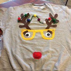 New funny christmas shirts diy ugly sweater Ideas Ugly Sweater For Kids, Girls Ugly Christmas Sweater, Reindeer Ugly Sweater, Christmas Shirts For Kids, Christmas Outfits, Funny Christmas, Ugliest Christmas Sweater, Diy Christmas Costumes, Christmas Diy